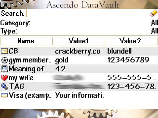 Ascendo DataVault Password Manager for BlackBerry