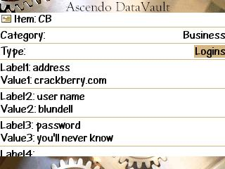 Asdendo DataVault - Password Manager for BlackBerry