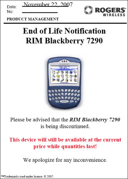 BlackBerry 7290 Farewell