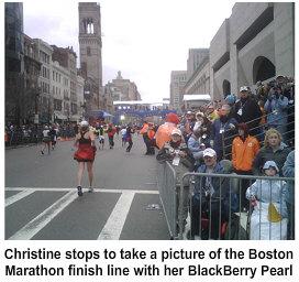 Christine Ross closing in on the Boston Marathon finish line