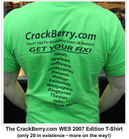 CrackBerry.com Limited Edition WES 2007 T-Shirts