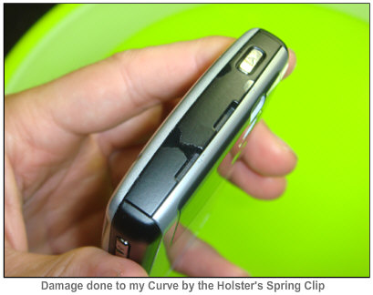 Damage done to Curve by Spring Clip