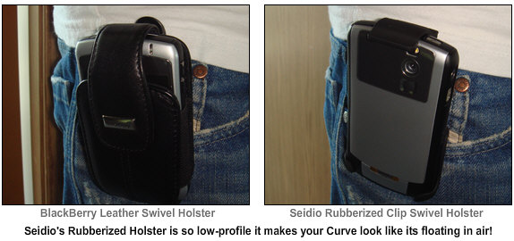 The BlackBerry Leather Holster compared to the Seidio Rubberized Holster