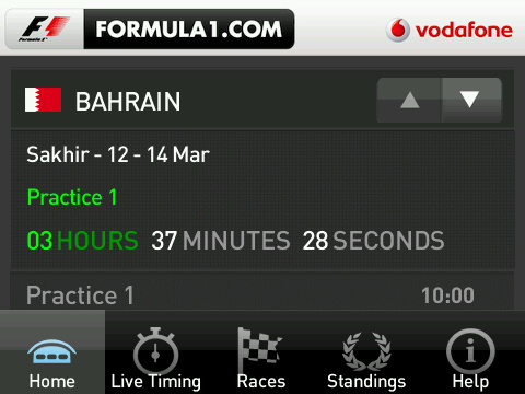 Formula1 BlackBerry App