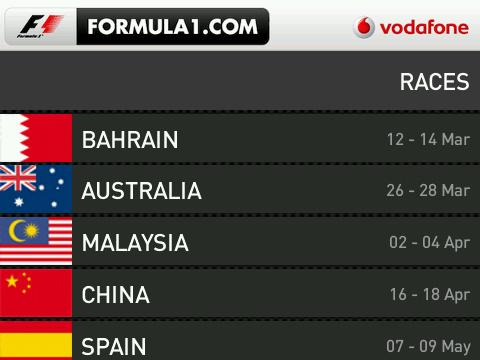 Formula 1 BlackBerry App