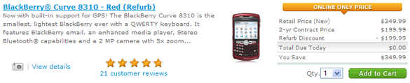 FREE BlackBerry 8310 Red Curve!