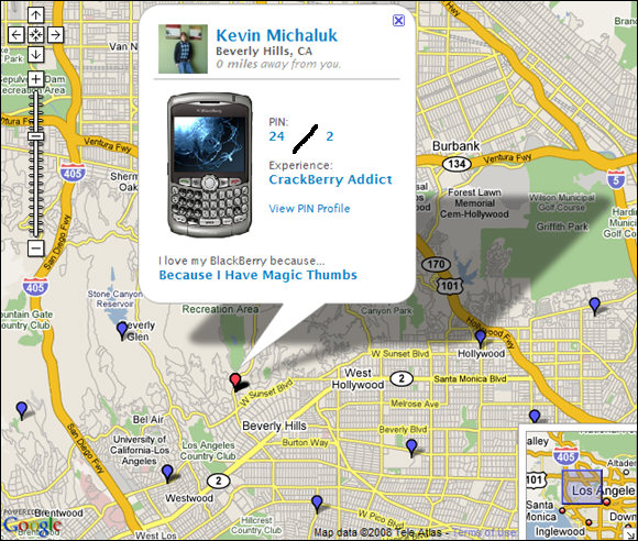 BlackBerry PIN Exchange Map View