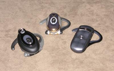 Three Little Motorola Bluetooth Headsets