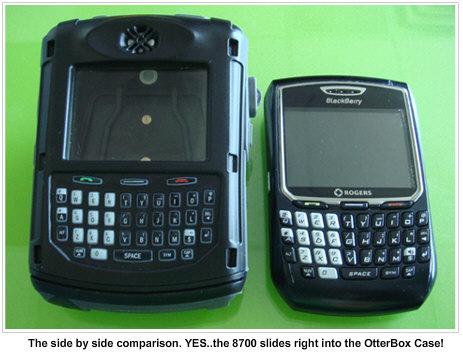 OtterBox BlackBerry 8700 Side by Side Comparison