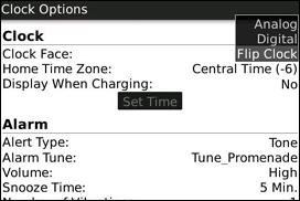 Clock and Alarm Options