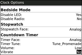 Bedside Mode, Stopwatch and Countdown Timer Options