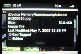 Image Properties Viewed from the Picture Library. Note the Geo Tagged Tag.