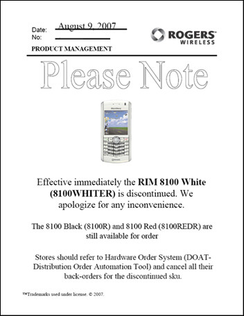 RIM BlackBerry 8100 Pearl Discontinued