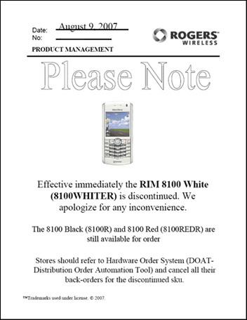 RIM BlackBerry 8100 Pearl Discontinued