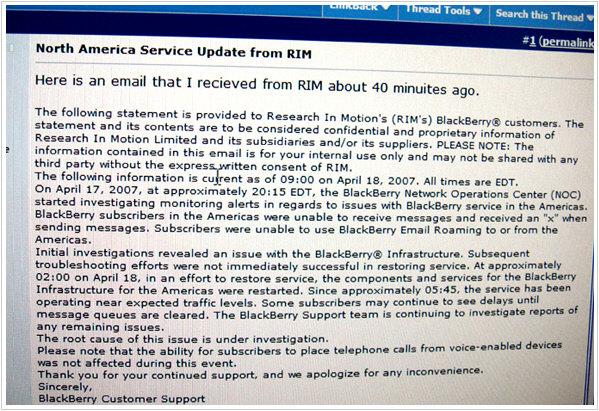 RIM North America Service Update