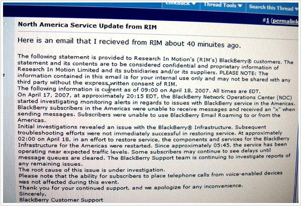 RIM North America Service Update