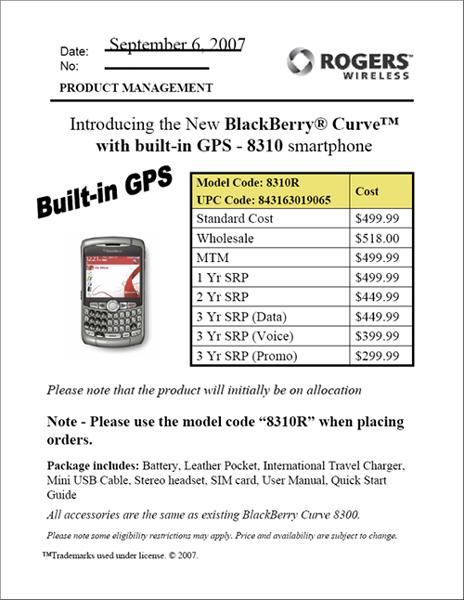 Rogers BlackBerry 8310 Launch