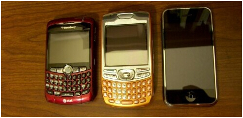 BlackBerry Treo iPhone Side by Side