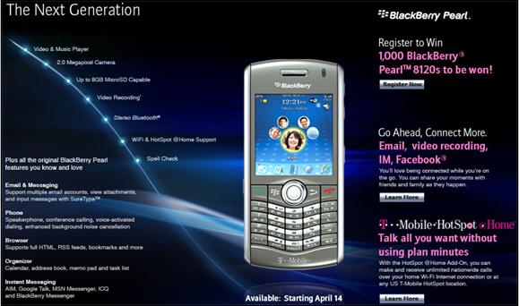 T-Mobile BlackBerry Pearl 8120