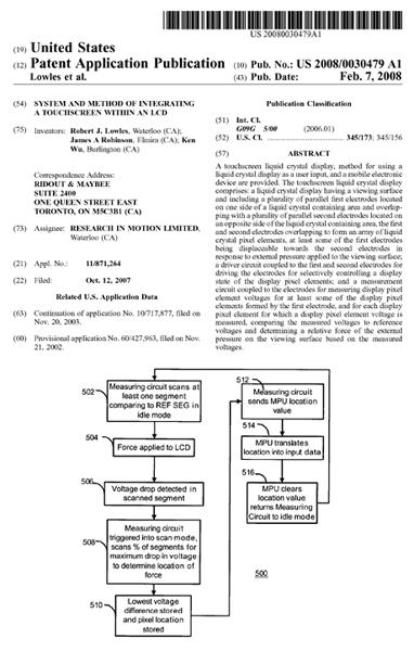 Touchscreen BlackBerry Patent