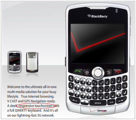 Supposedly the Verizon 8330 Curve Has a Touchscreen!