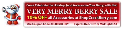 Use Coupon Code MERRYBERRY to Save at ShopCrackBerry.com!