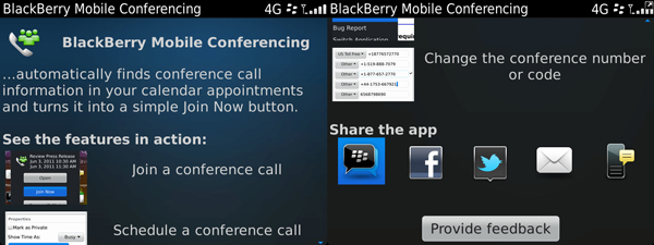 BlackBerry Mobile Conferencing screenshots