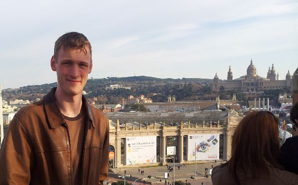 Simon Sage in front of the Fira in Barcelona.