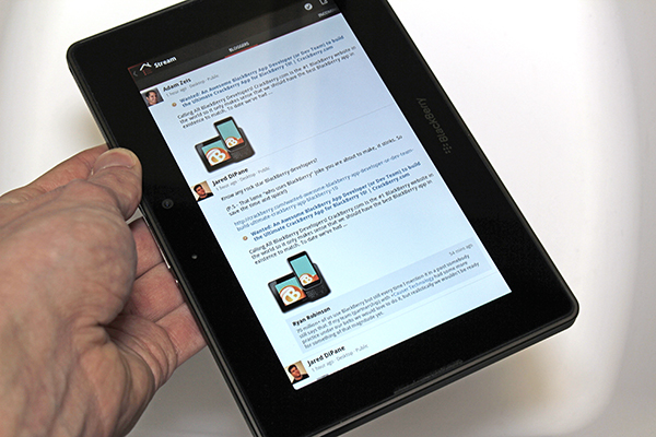 Google Plus running on the BlackBerry PlayBook