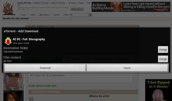 aTorrent running on the BlackBerry PlayBook