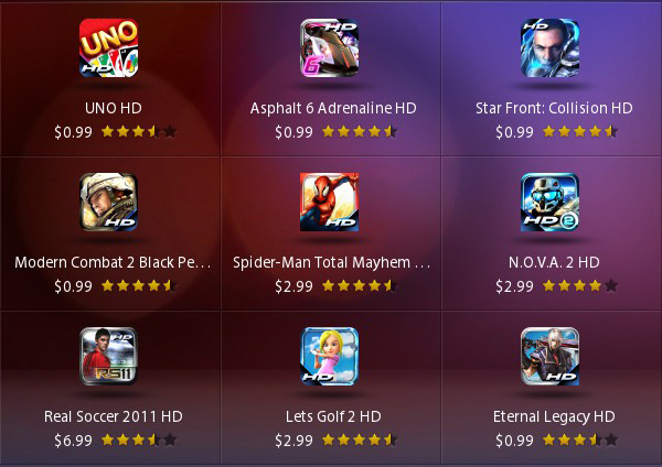 Gameloft BlackBerry PlayBook sales