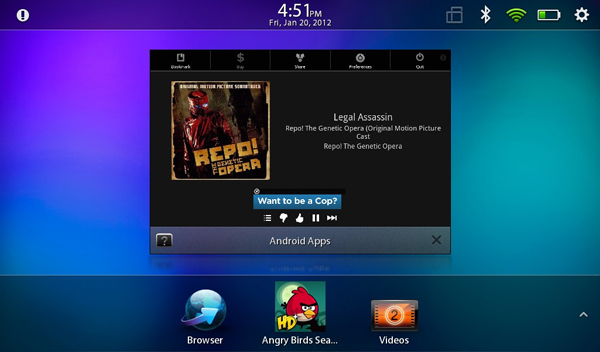 Pandora running on the BlackBerry PlayBook