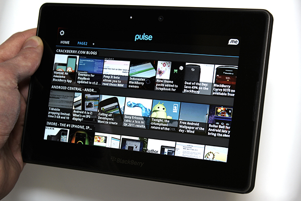 Pulse News running on the BlackBerry PlayBook
