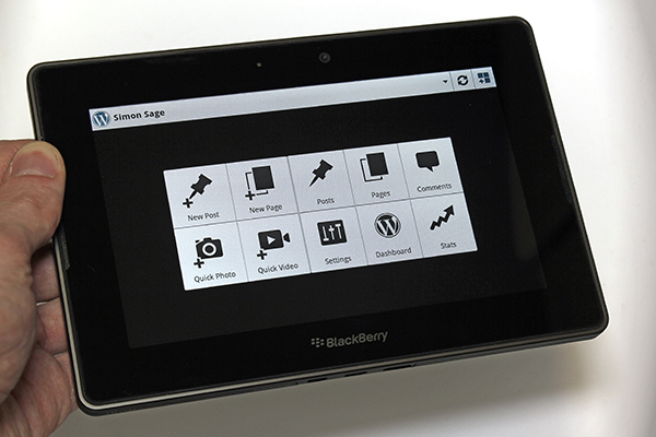 WordPress running on the BlackBerry PlayBook