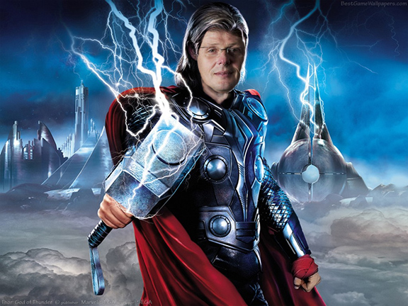 Thorsten Heins, photoshopped onto Thor, God of Thunder