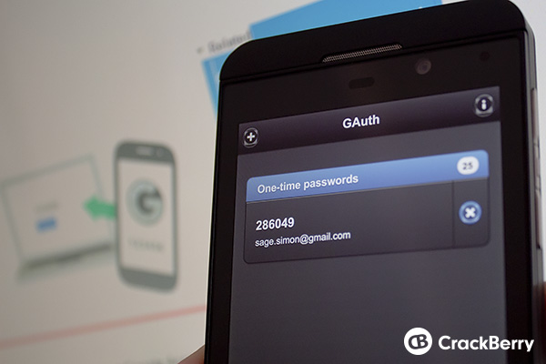 Google two-step authentication on BlackBerry 10
