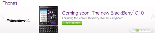 TELUS BlackBerry Q10 pre-registration