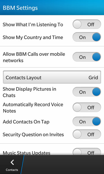 BBM for BlackBerry 10 options