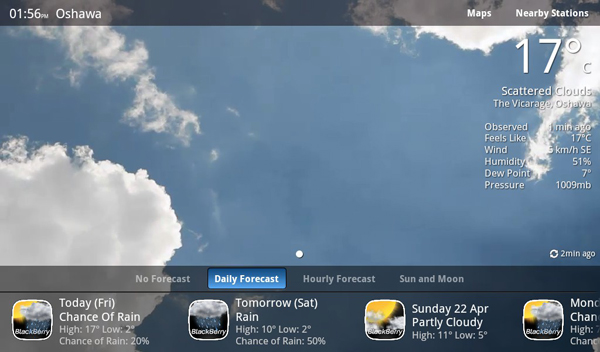 Beweather for the BlackBerry PlayBook 1