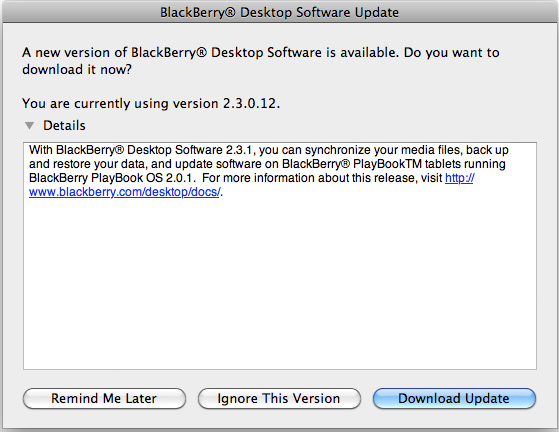 BlackBerry Desktop Manager for Mac