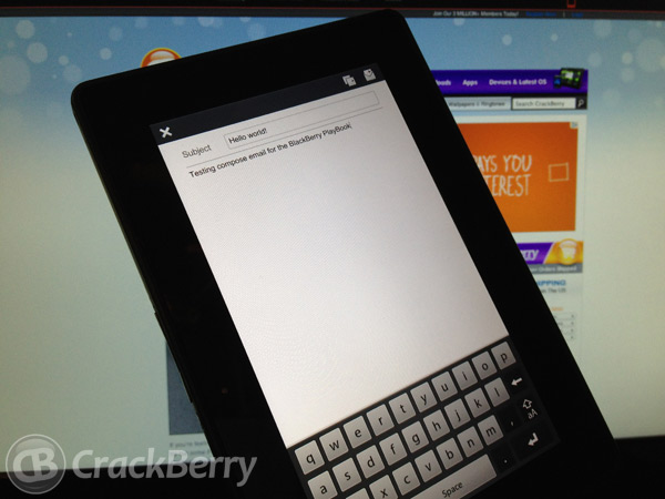 Compose email for the BlackBerry PlayBook