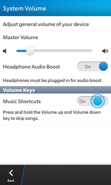 BlackBerry 10 system volume