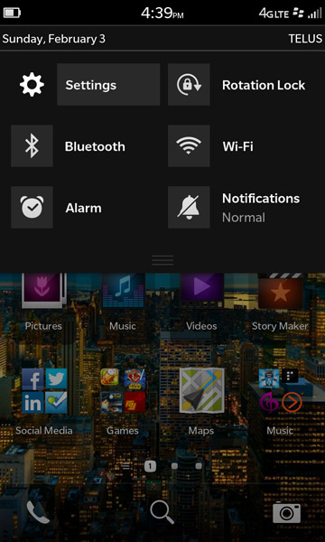 BlackBerry 10 system menu