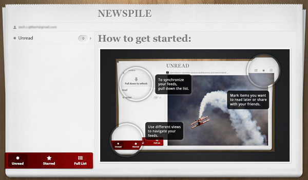 NewsPile for the BlackBerry PlayBook homescreen