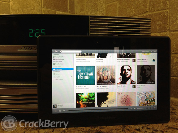 Rdio on the BlackBerry PlayBook