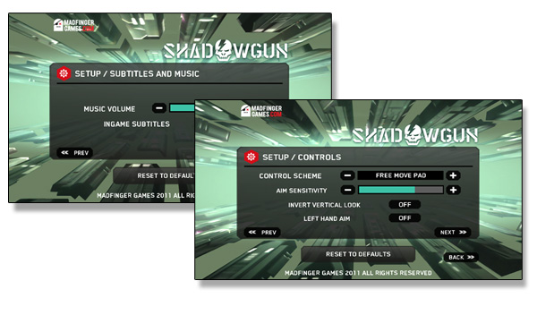 ShadowGun game settings