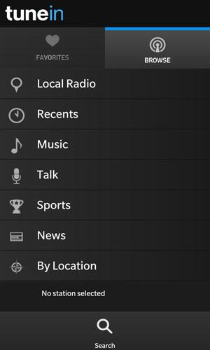 TuneIn Radio for BlackBerry 10
