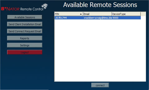 Available Remote Control Sessions