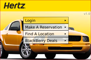 Hertz Rent-a-Car App for BlackBerry