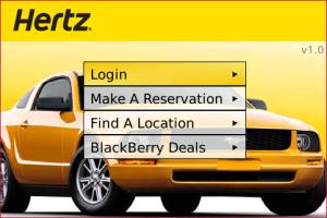 Hertz Rent-a-Car App for BlackBerry